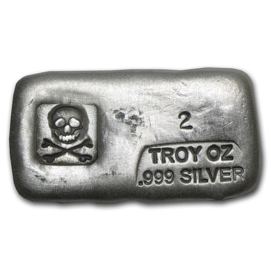 2 oz Hand Poured Silver Bar - PG & G (Skull & Bones)