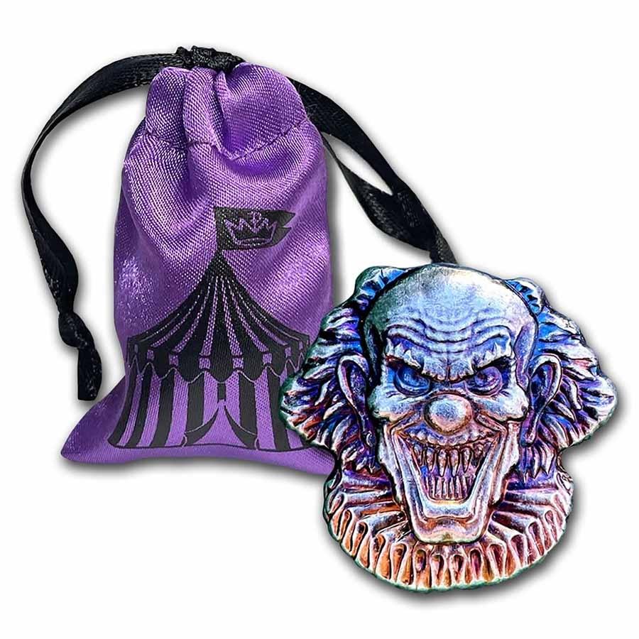 2 oz Hand Poured Silver - Evil Clown (w/Custom Pouch)