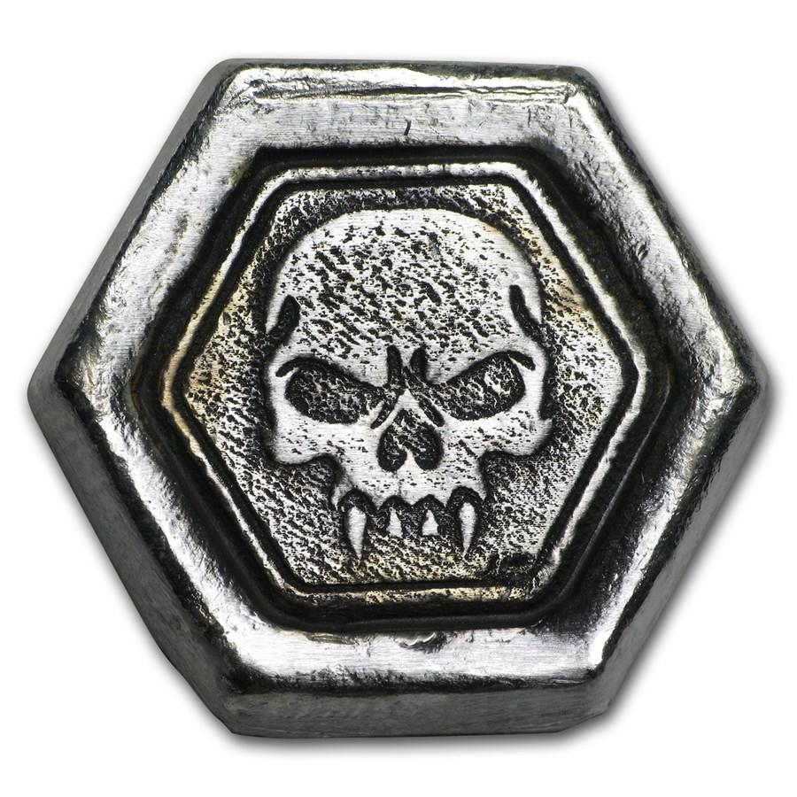 2 oz Hand Poured Silver Hexagon - Skull Fang