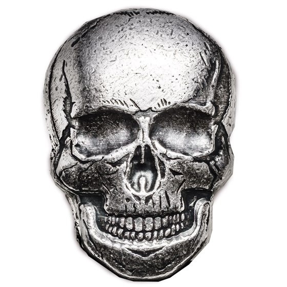 2 oz Hand Poured Silver - Human Skull