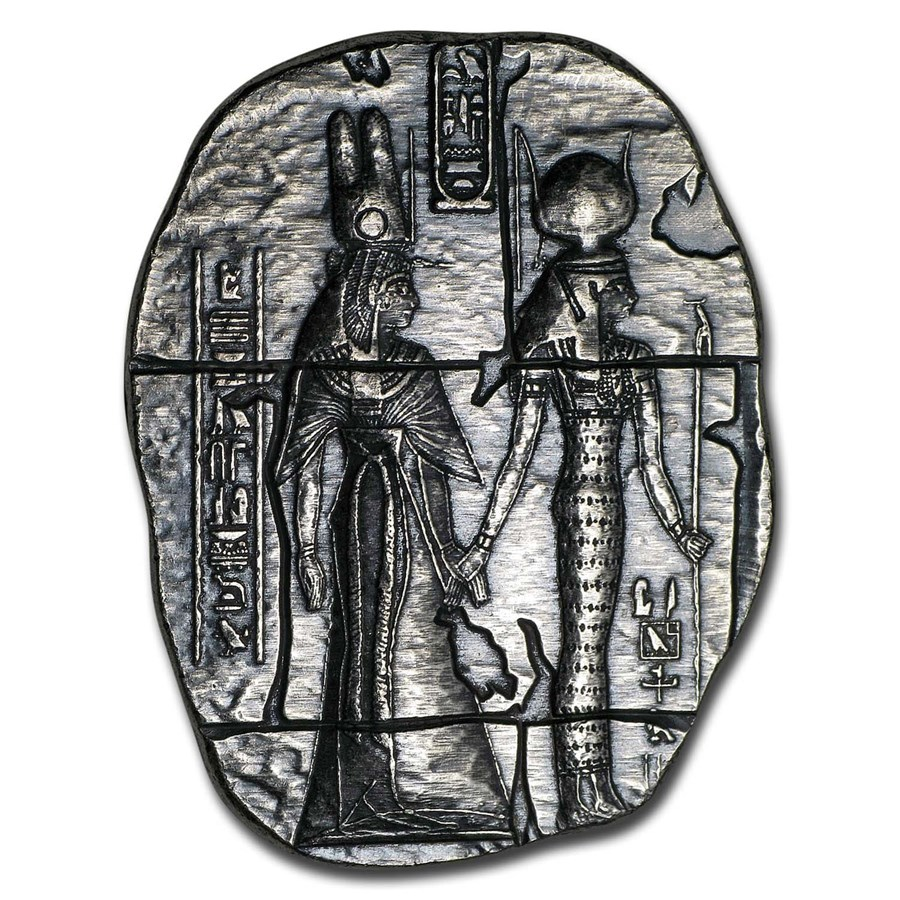 2 oz Hand Poured Silver Relic Bar - Egyptian Goddesses