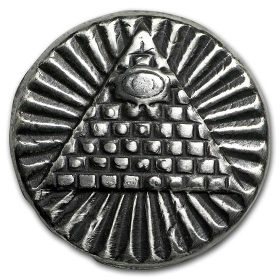 2 oz Hand Poured Silver Round - All Seeing Eye Pyramid (UHR)