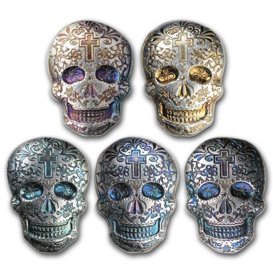 2 oz Hand Poured Silver Skull - Day of the Dead: Cross