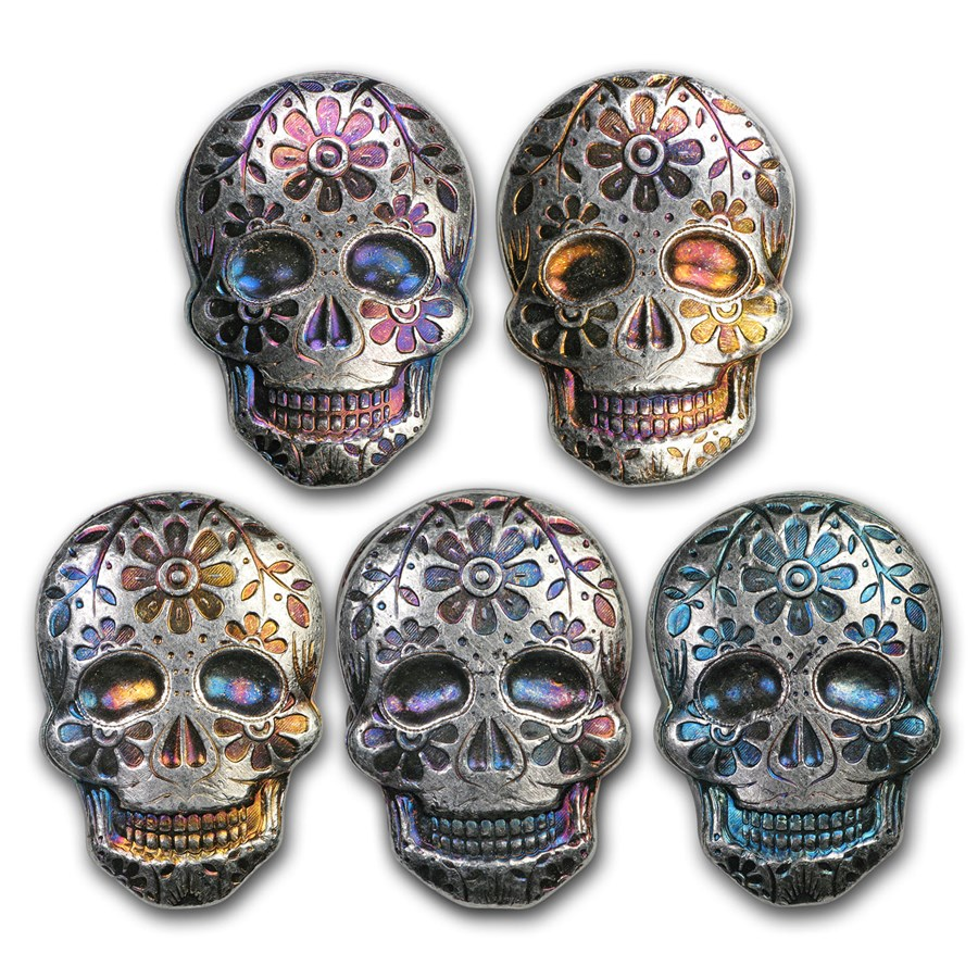2 oz Hand Poured Silver Skull - Day of the Dead: Marigold