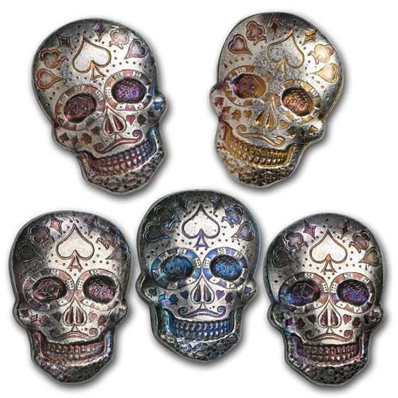 2 oz Hand Poured Silver Skull - Day of the Dead: Poker Face