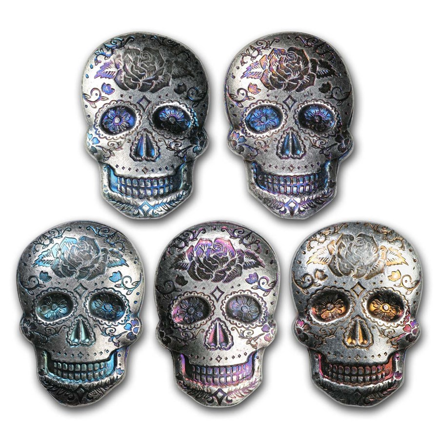 2 oz Hand Poured Silver Skull - Day of the Dead: Rose