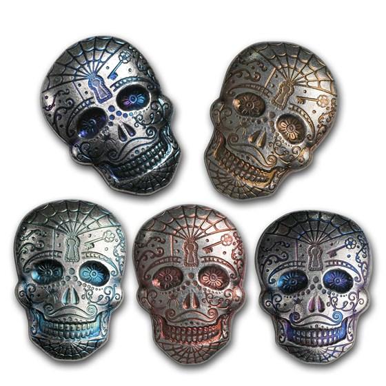 2 oz Hand Poured Silver Skull - Day of the Dead: Spiderweb