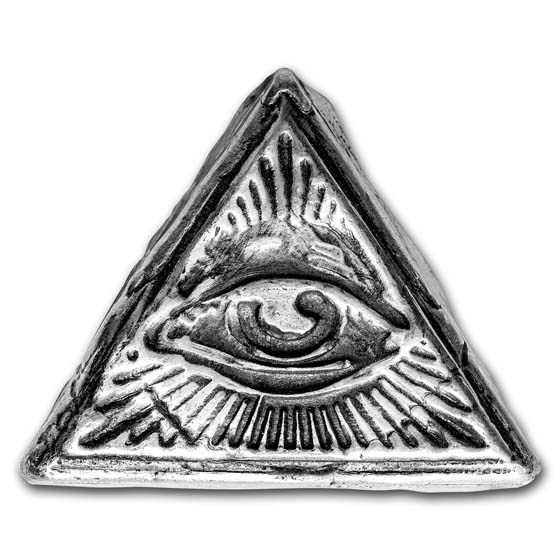 2 oz Hand Poured Silver Triangle - All Seeing Eye