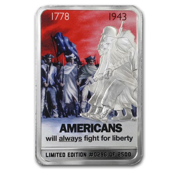 2 oz Silver Color Proof Bar - WWII Iconic War Posters: The Fight