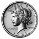 2 oz Silver High Relief Round - 1921 Peace Dollar