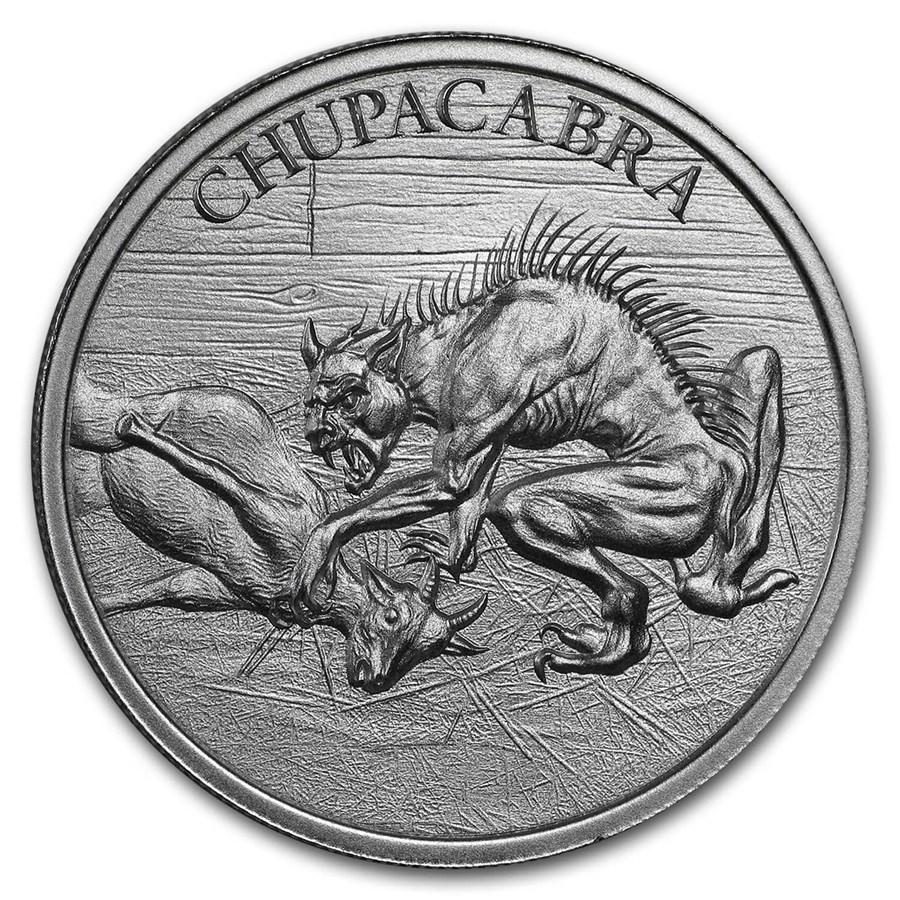 2 oz Silver High Relief Round - Chupacabra