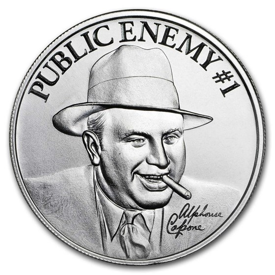 "2 oz Silver High Relief Round - ""Public Enemy #1"" Alphonse Capone"