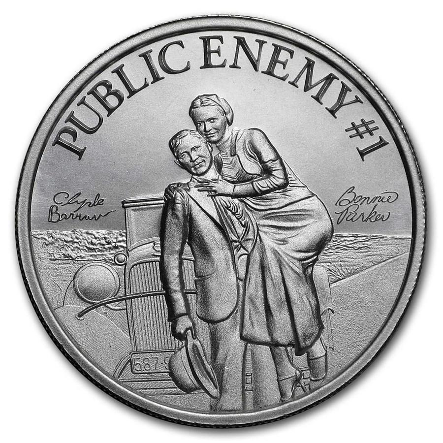 "2 oz Silver High Relief Round - ""Public Enemy #1"" Bonnie & Clyde"