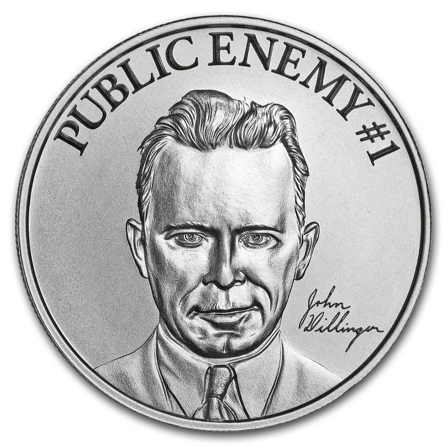 "2 oz Silver High Relief Round - ""Public Enemy #1"" John Dillinger"