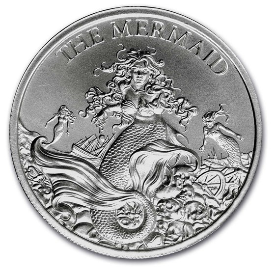 2 oz Silver High Relief Round - The Mermaid
