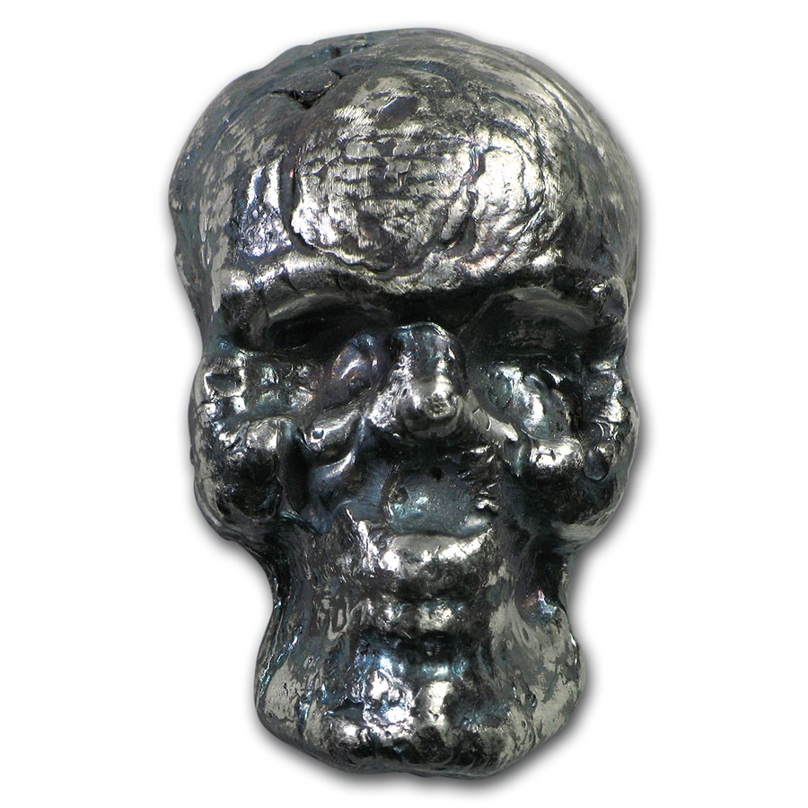 2 oz Silver - MK Barz & Bullion (3D Skull)