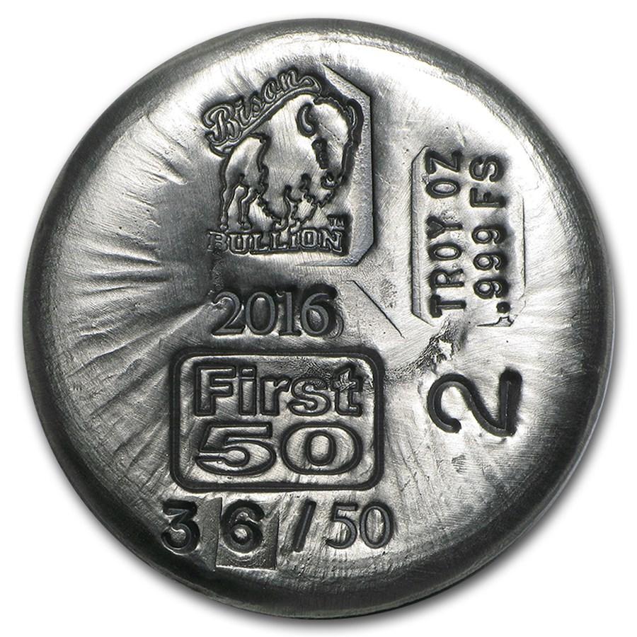 2 oz Silver Round - Bison Bullion (1st 50 Issued)