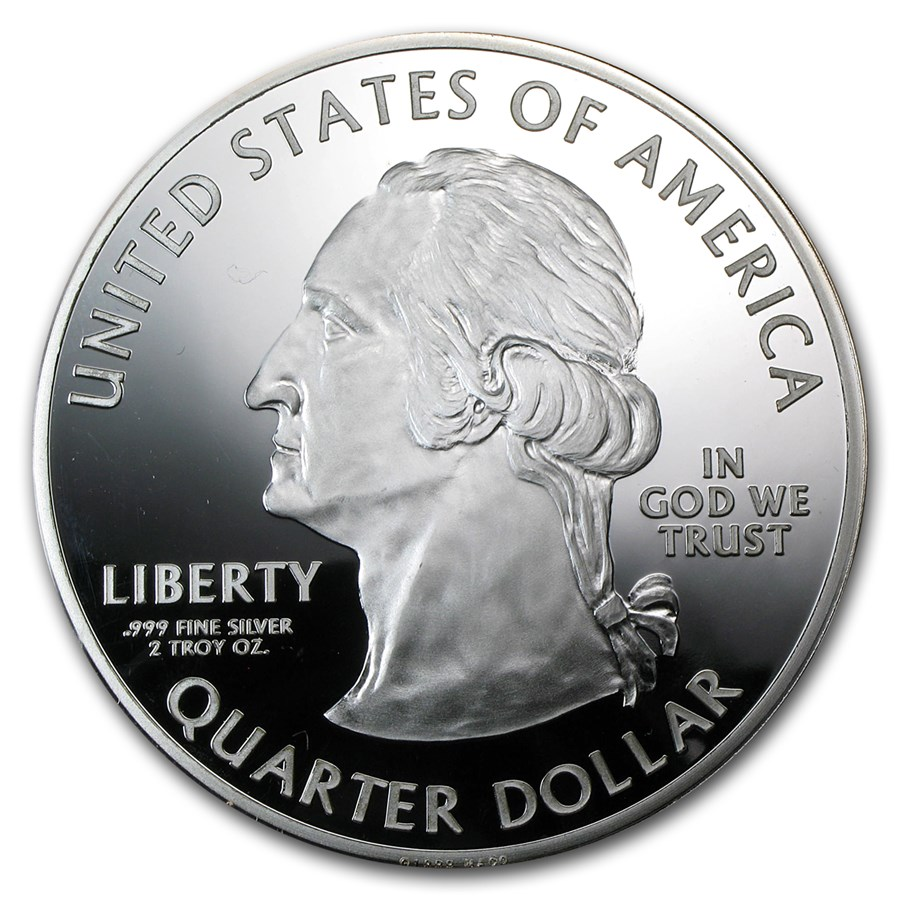 2 oz Silver Round - State Quarter (2 1/2 in./Various States)