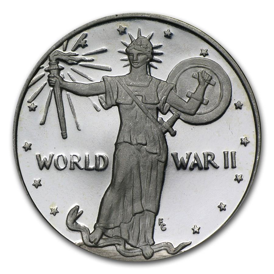 2 oz Silver Round - World War II (Piedfort)