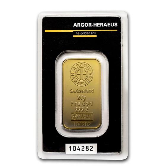 20 gram Gold Bar - Argor-Heraeus (In Assay)
