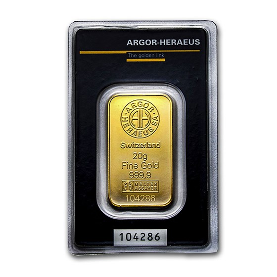 20 gram Gold Bar - Argor-Heraeus KineBar Design (In Assay)