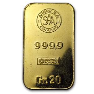 20 gram Gold Bar - Argor S.A. Chiasso