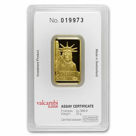 20 gram Gold Bar - Credit Suisse Statue of Liberty (New Assay)