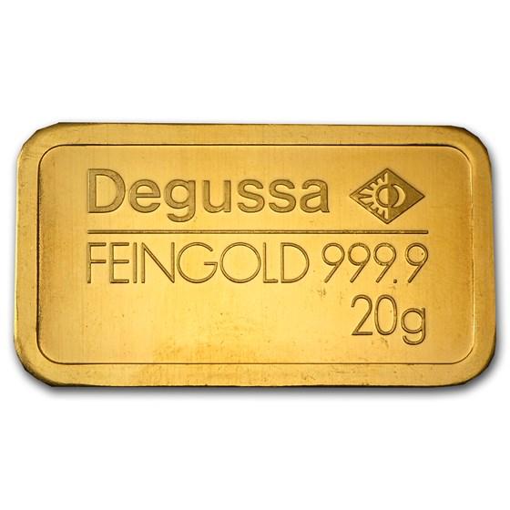 20 gram Gold Bar - Degussa (Pressed)