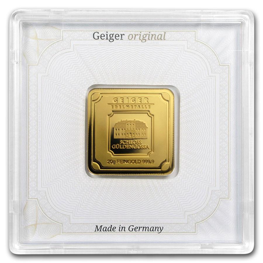 20 gram Gold Bar - Geiger Edelmetalle (Encapsulated w/Assay)