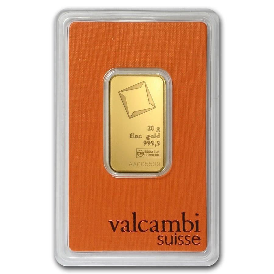 20 gram Gold Bar - Valcambi (In Assay)
