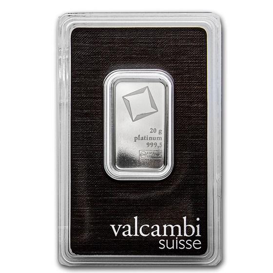 20 gram Platinum Bar - Valcambi (In Assay)