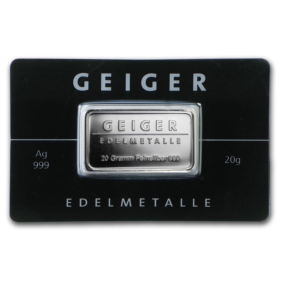 20 gram Silver Bar - Geiger Edelmetalle (Mirror Finish/In Assay)