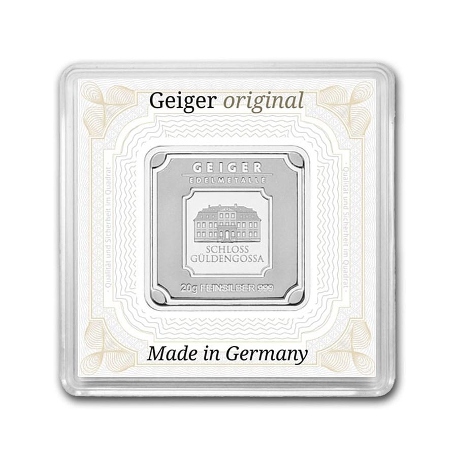 20 gram Silver Square - Geiger Edelmetalle (Encapsulated w/Assay)