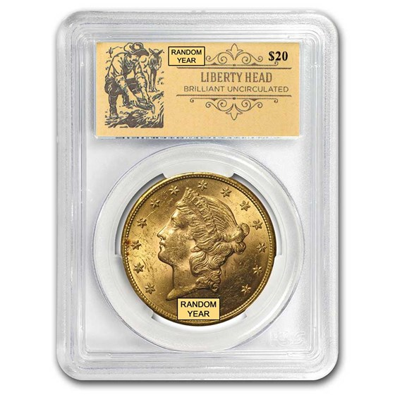 $20 Liberty Gold Double Eagle BU PCGS (Random, Prospector Label)