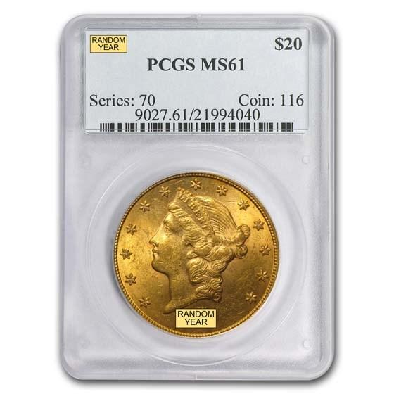 $20 Liberty Gold Double Eagle MS-61 PCGS (Pre-1900)