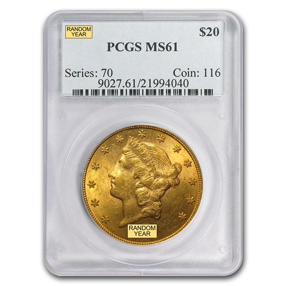 $20 Liberty Gold Double Eagle MS-61 PCGS (Random)