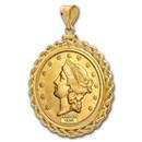 $20 Liberty Gold Double Eagle Pendant (Rope-ScrewTop Bezel)