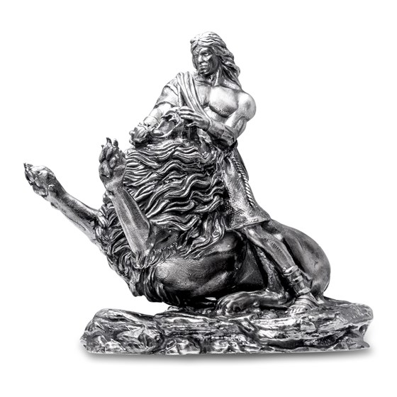 20 oz Silver Antique Statue - Samson and the Lion