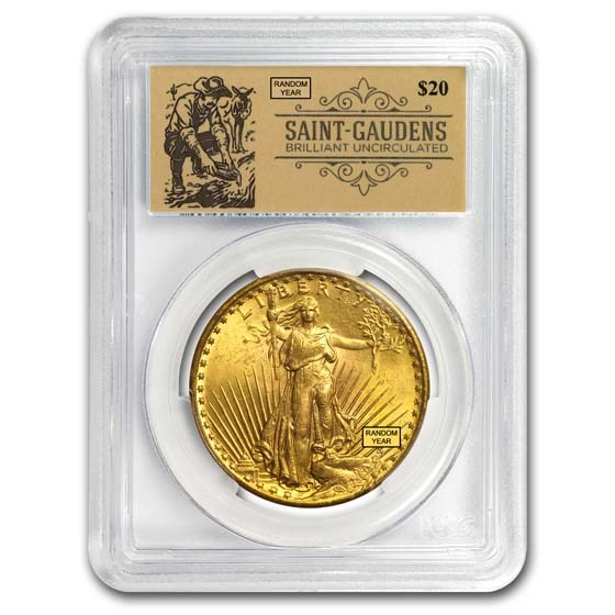 $20 Saint-Gaudens Double Eagle BU PCGS (Random, Prospector Label)
