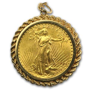 $20 Saint-Gaudens Gold Double Eagle (14kt Gold Bezel)