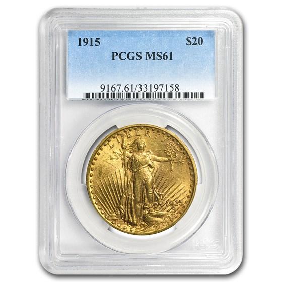 $20 Saint-Gaudens Gold Double Eagle MS-61 PCGS (Random)