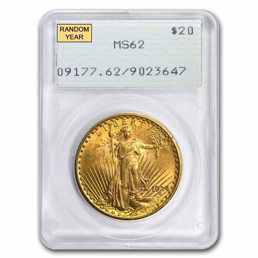 $20 Saint-Gaudens Gold Double Eagle MS-62 PCGS (Rattler, Random)