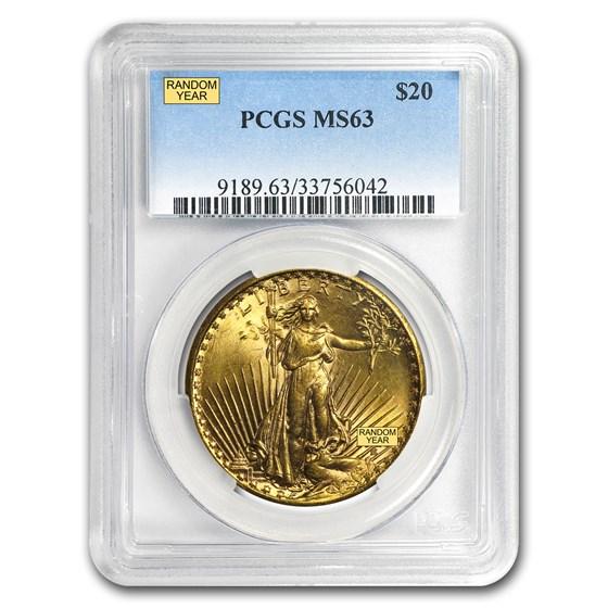 $20 Saint-Gaudens Gold Double Eagle MS-63 PCGS (Random)