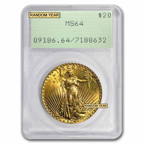 $20 Saint-Gaudens Gold Double Eagle MS-64 PCGS (Rattler, Random)