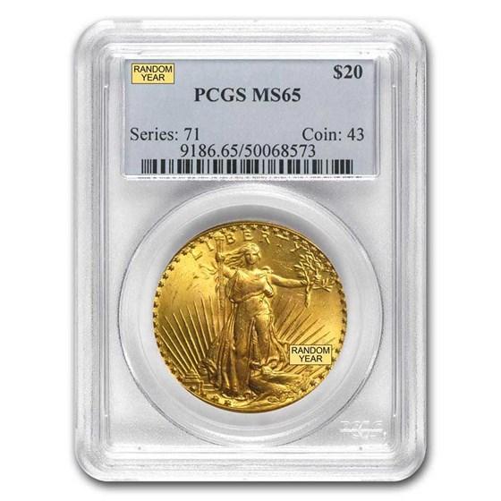 $20 Saint-Gaudens Gold Double Eagle MS-65 PCGS (Random)