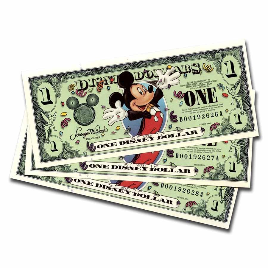 2000 $1.00 Disney Epcot Mickey Mouse CCU (3 Consecutive Notes)