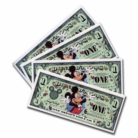 2000 $1.00 Disney Epcot Mickey Mouse CCU (4 Consecutive Notes)