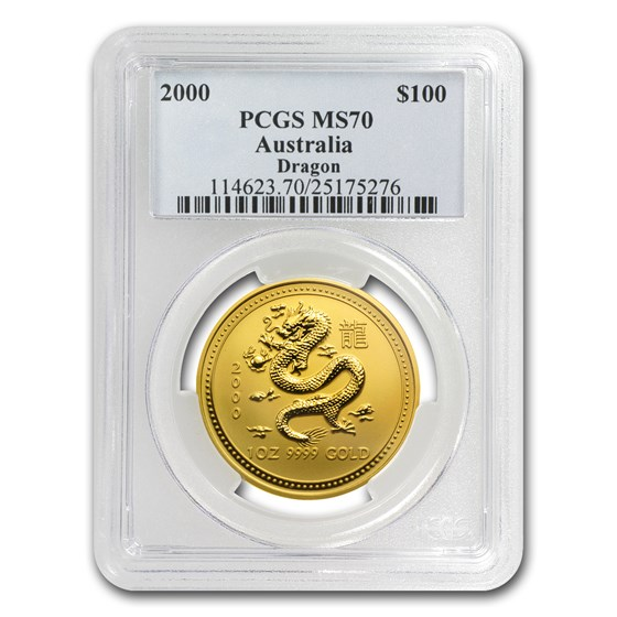2000 1 oz Gold Lunar Year of the Dragon MS-70 PCGS (Series I)