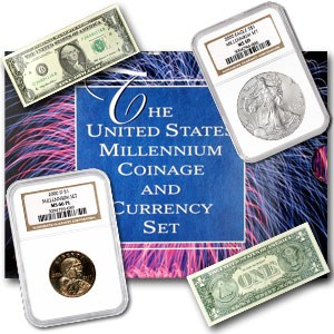 2000 3-Coin Millennium Coin & Currency Set BU NGC (w/Box & COA)
