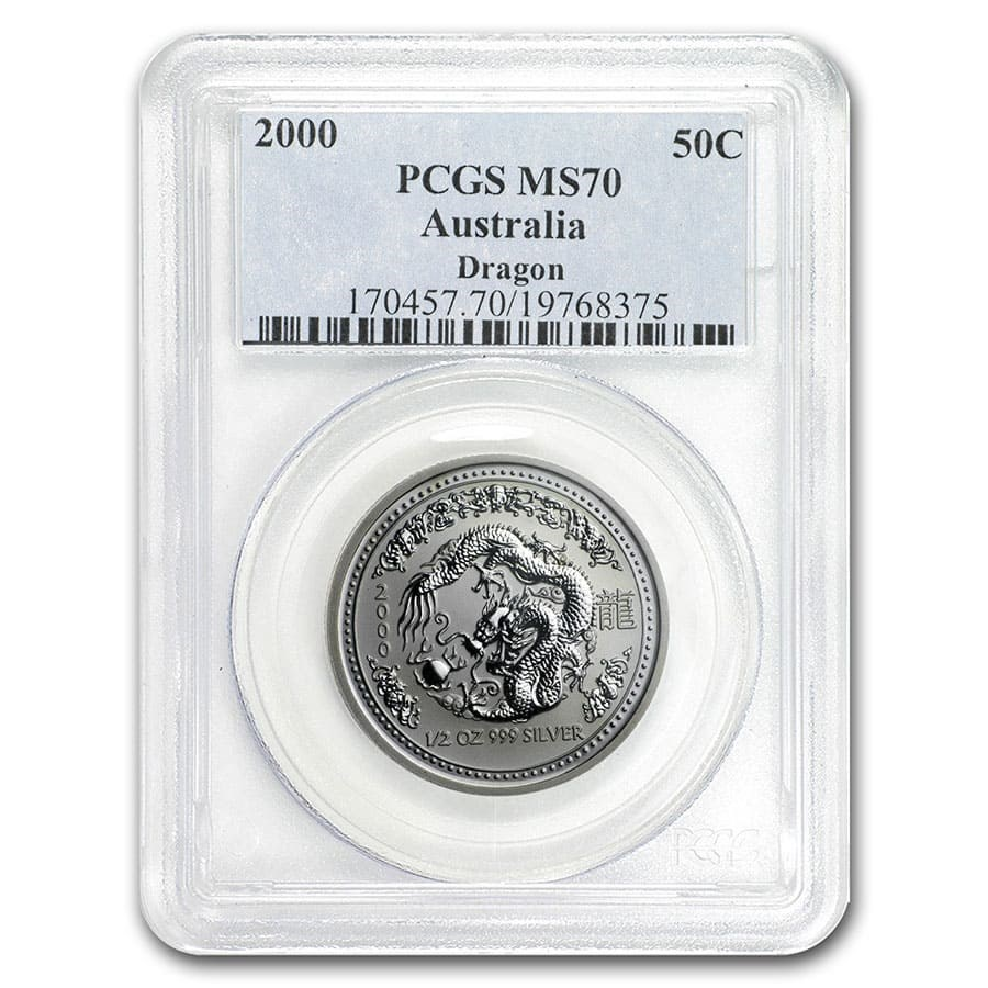2000 Australia 1/2 oz Silver Year of the Dragon MS-70 PCGS (SI)